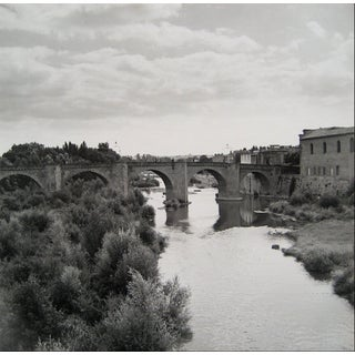 European Bridge Over Water 1960s Black and White Photograph For Sale