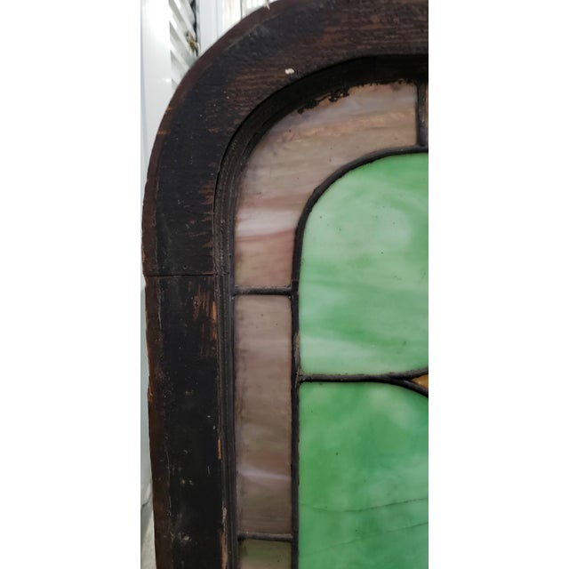 19th Century Stained Glass Victorian House Number Window Panel C.1880 For Sale - Image 4 of 12