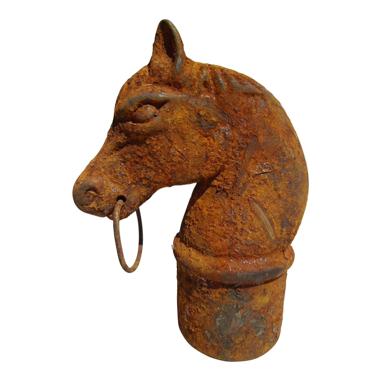 1900s Americana Cast Iron Horse Head Hitching Post
