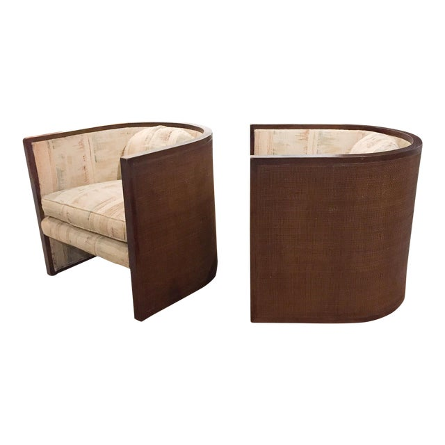 Baughman Style Mid-Century Caned Lounge Chairs- A Pair - Image 1 of 9