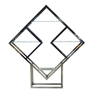 Modernist Geometric Diamond Shaped Chrome Étagère Attributed to Milo Baughman