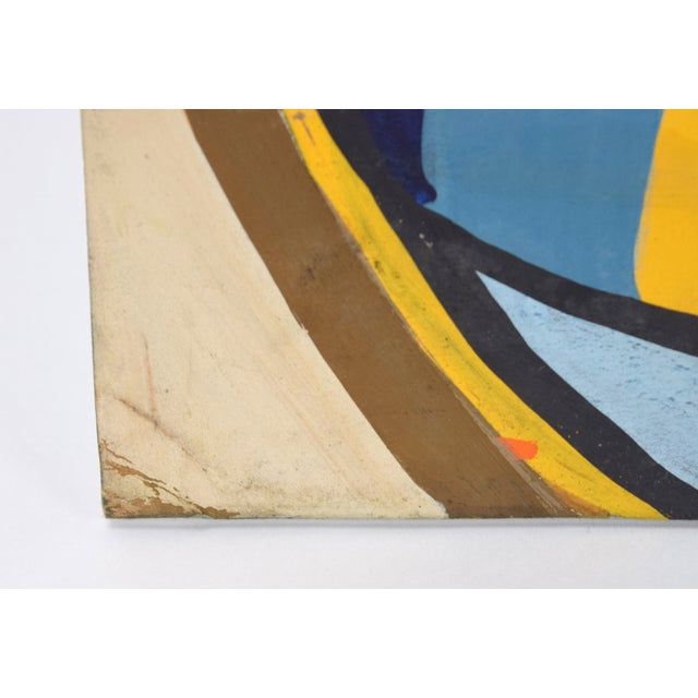 1950s Vintage Dick Fort Cubist Gouache Abstract Shapes Painting For Sale In Chicago - Image 6 of 9