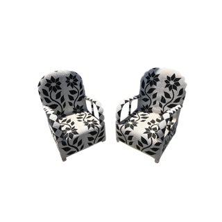Pair of Beaded Black and White Nigerian Throne Chairs