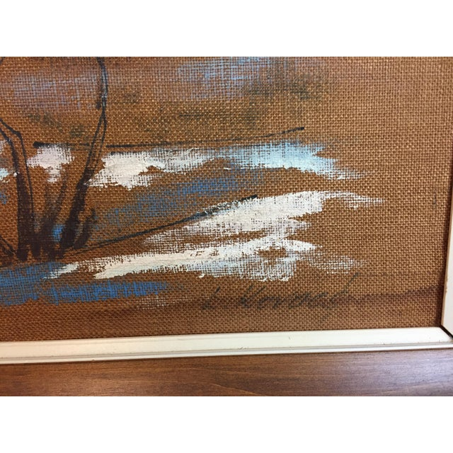 Kovacs Mid Century Modern Burlap Painting by Levente Kovacs For Sale - Image 4 of 11
