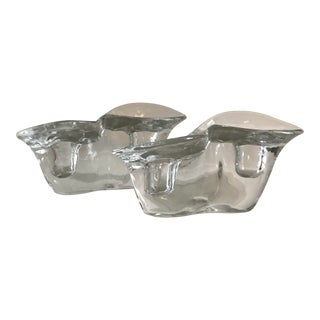 Asymmetrical Glass Candle Holders - a Pair For Sale