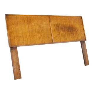 Mid Century Walnut and Cane Queen Headboard For Sale