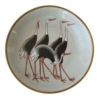 Midcentury Modern Ceramic & Brass Ostrich Bowl