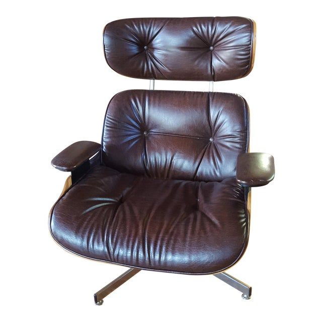 Vintage Eames Style Chocolate Selig Plycraft Lounge Chair For Sale