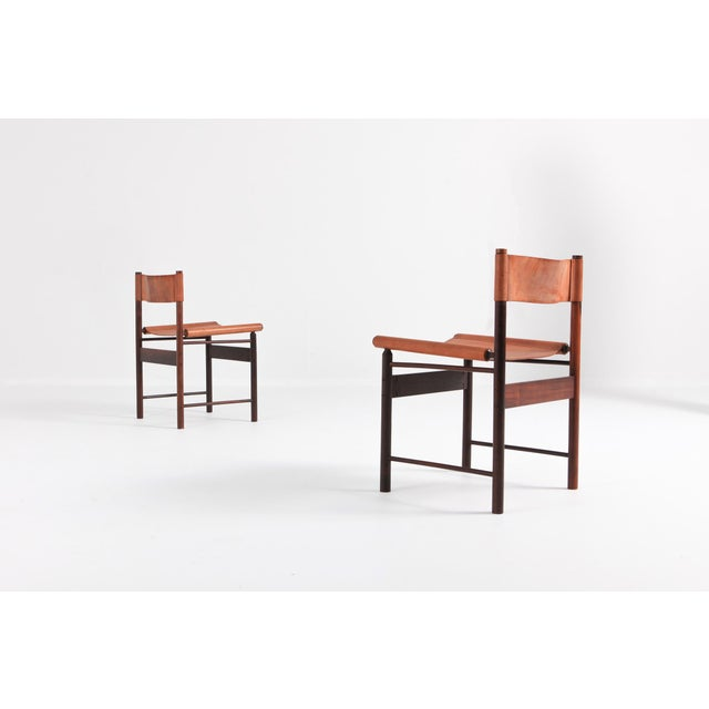 1950s Zalszupin Jacaranda Dining Chairs With Cognac Saddle Leather Seating For Sale - Image 5 of 12