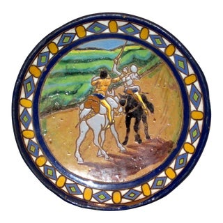 Santa Ana Triana Seville Fencing Scene Glazed Pottery Charger For Sale