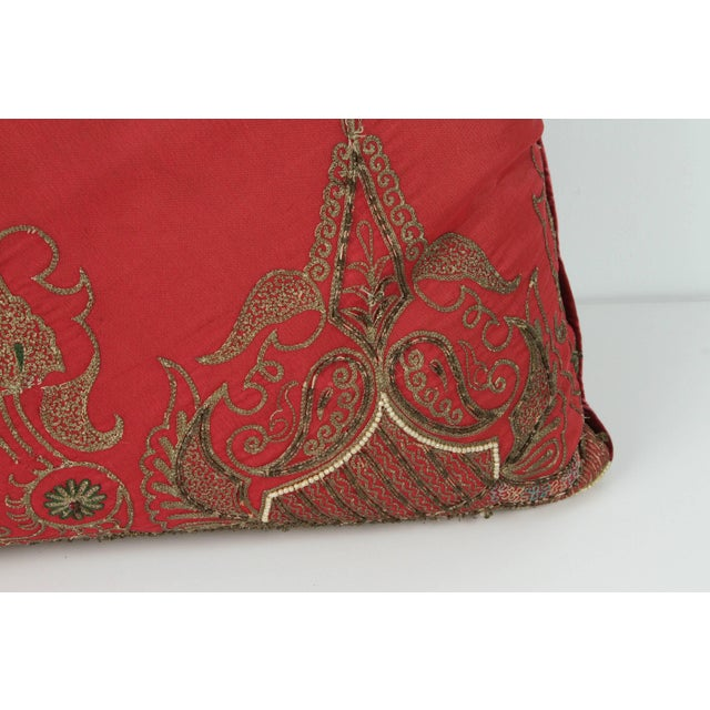 Pair of Antique Turkish Ottoman Silk Pillows With Metallic Threads For Sale In Los Angeles - Image 6 of 13