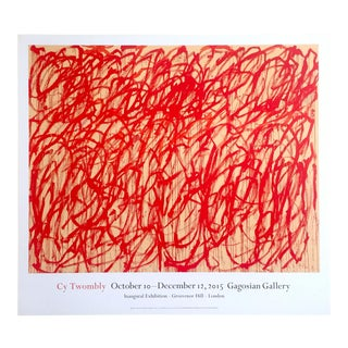 "Cy Twombly Abstract Expressionist Lithograph Print Gagosian Gallery Exhibition Poster "" Bacchus "" For Sale"