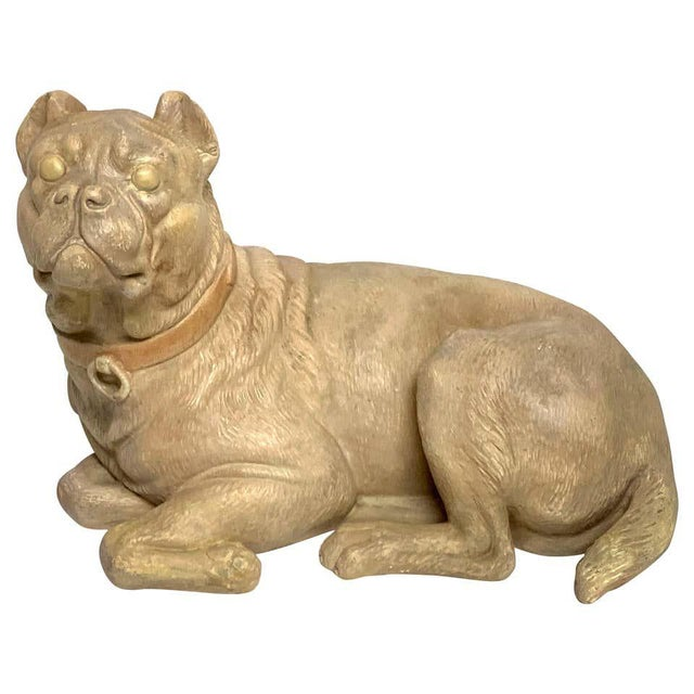 Late 19th Century Antique English Terracotta Recumbent Pug Dog For Sale - Image 10 of 10