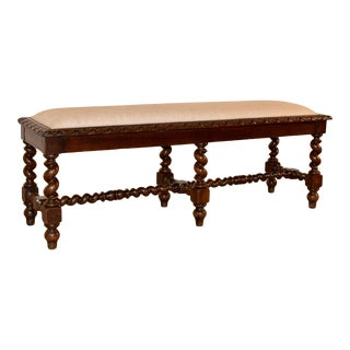 19th C Upholstered French Bench For Sale