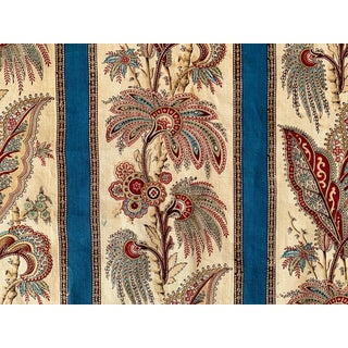 Antique Fabric French Prussian Blue Striped Floral Indienne Pattern Circa 1850 For Sale