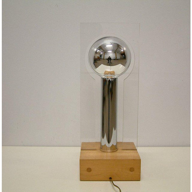 1970s Modern Lucite, Chrome & Wood Lamp For Sale - Image 5 of 8