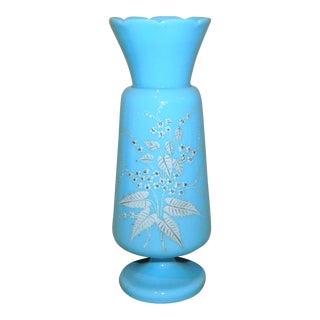 Late 19th Century Bristol Blue Milk Glass Vase For Sale