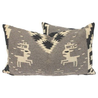 Navajo Indian Weaving Bolster Pillows with Deer For Sale