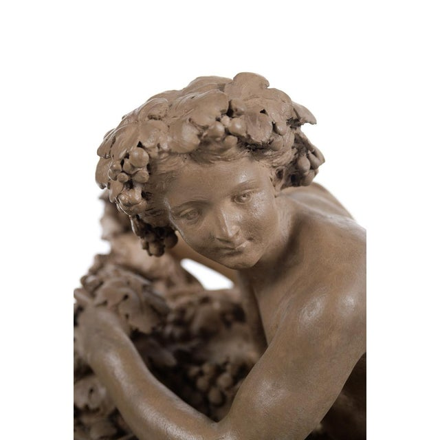 Bacchus & Satyrs eating Grapes and drinking Wine - Gorgeous 19th century Terracotta sculpture by French artist Clodion-...