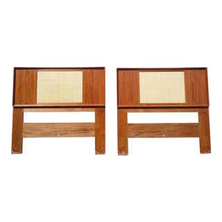 Mid Century Danish Modern Teak and Cane Reversible Twin Headboards Falster - a Pair For Sale