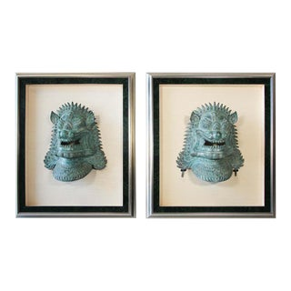 Two Large Chinese Foo Dogs Bronze Cast Masks Mounted and Framed For Sale