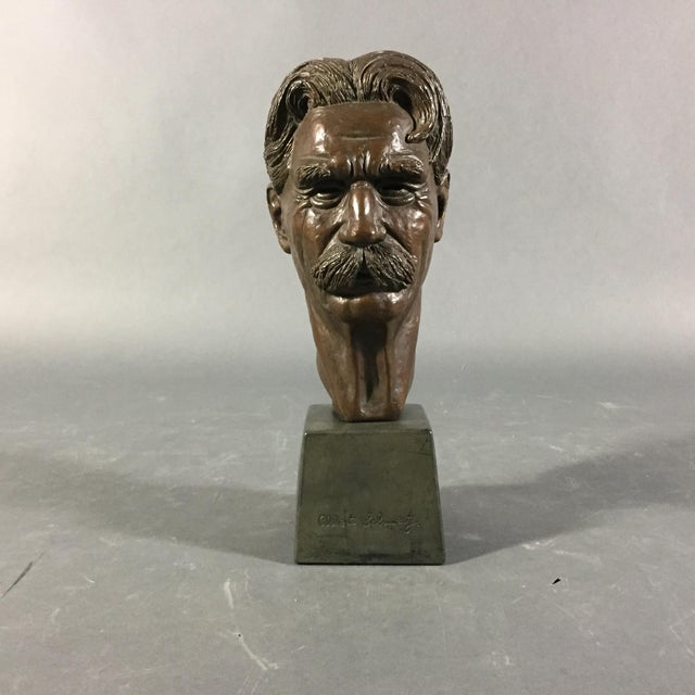 Bronze over Metal base of Albert Schweitzer (French) who won the Nobel Peace Prize in 1952 for his philosophy of...