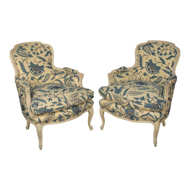 French Louis XV Style Bergere Chairs - A Pair - Image 1 of 8