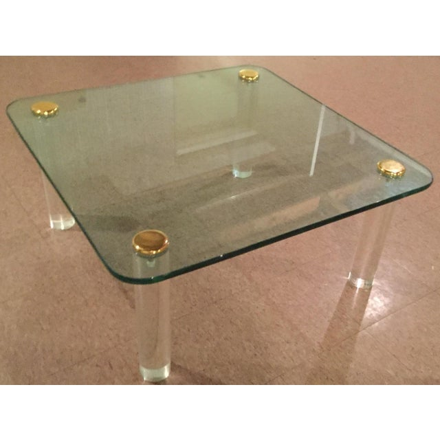Brass 1970s Glass and Brass Table For Sale - Image 7 of 8