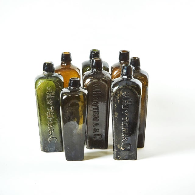 Mid-Century Modern Set of 8 Multi-Color Gin Glass Bottles From Mid-Century Germany For Sale - Image 3 of 7