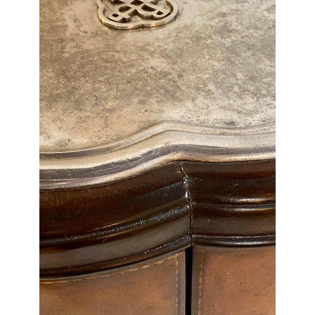 Regency Style Cigar Table, Stitched Leather and Inlaid Tray Top Manner Lauren For Sale - Image 10 of 13