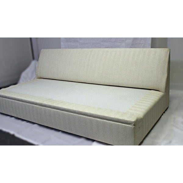 Cream Modern Designer Armless Sofa Settee For Sale - Image 8 of 10