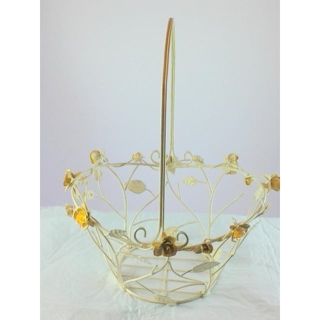 1960s Vintage Metal Basket With Glass Beads For Sale - Image 5 of 5