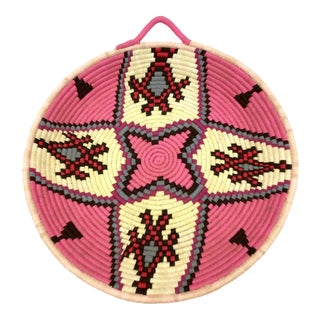 Pink & Ivory Moroccan Tribal Wool Tray For Sale