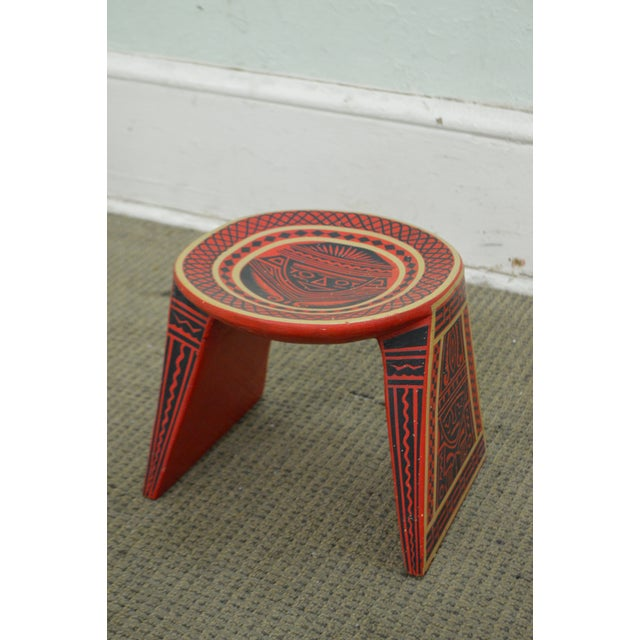 Vintage Hand Painted Aztec Tribal Stools - A Pair - Image 8 of 10
