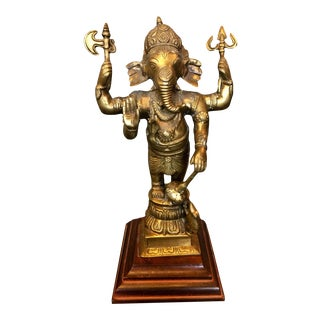 Vintage Hindu Elephant God Lord Ganesha Warrior Sculpture For Sale