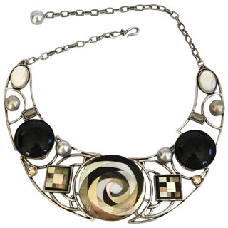 Philippe Ferrandis Mother of Pearl and Glass Geisha Necklace For Sale