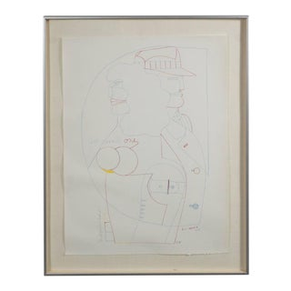 Mid-Century Signed Lithograph by Richard Lindner For Sale