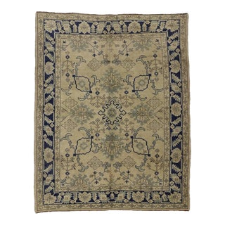 Vintage Turkish Oushak Rug with Modern Chinoiserie Chic Style For Sale