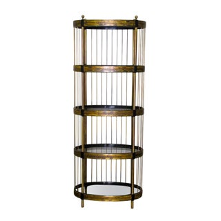 1980s Mid-Century Modern Mastercraft Bernhard Rohne Acid Etched Brass Oval Etagere For Sale