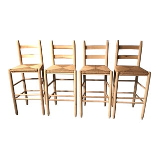 21st Century Vintage Pine Bar Height Stools - Set of 4 For Sale
