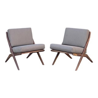Pair of Contemporary Walnut Slipper Chairs - Custom Made For Sale