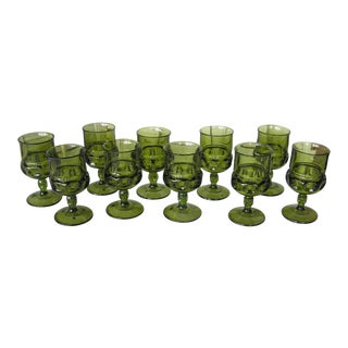 Vintage Mid-Century Modern Indiana Glass Company Green Kings Crown Water Goblets - Set of 10 For Sale