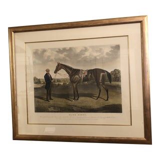 1800's Painted Equestrian Etching For Sale
