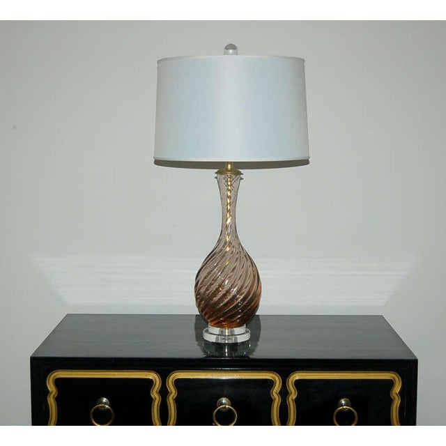Marbro Murano Glass Table Lamps in Peach Tea For Sale - Image 10 of 10