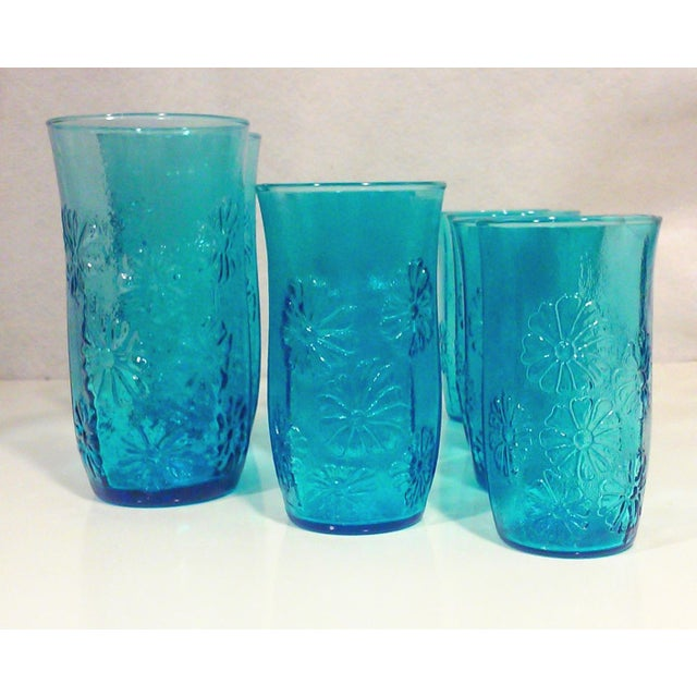 Turquoise Glass Daisy Tumblers - Set of 9 - Image 3 of 5