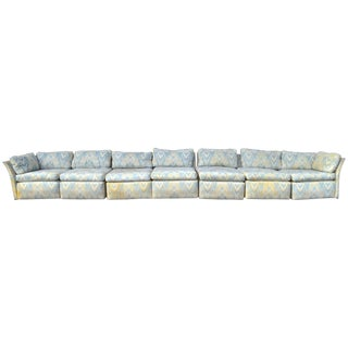 Super Long Chrome Frame Sectional Box Sofa Attributed to Baughman For Sale