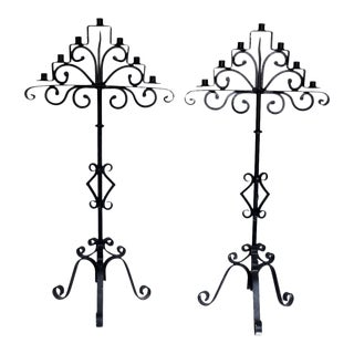 Vintage Hand Forged Wrought Iron Candle Holders - A Pair
