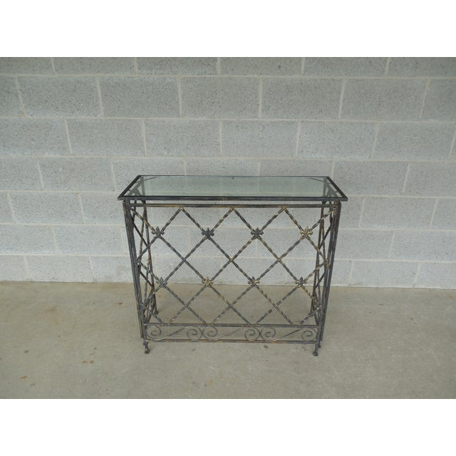 Features fine quality construction, Solid Heavy Wrought Iron Frame with Nice Details, Top Resting Insert with Glass approx...