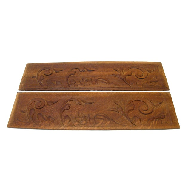 Belgian Vintage French Carved Wood Panels, A Pair For Sale - Image 3 of 4