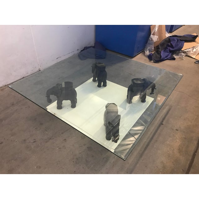 Glass Coffee Table With Wooden Elephant Stands - Image 2 of 8